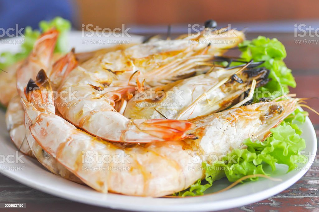 grilled shrimp or grilled prawn stock photo