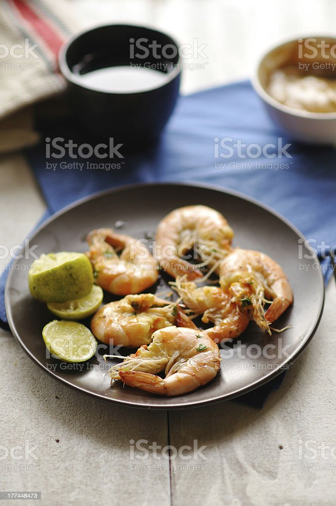 Grilled shrimp or prawns with peanut sauce royalty-free stock photo