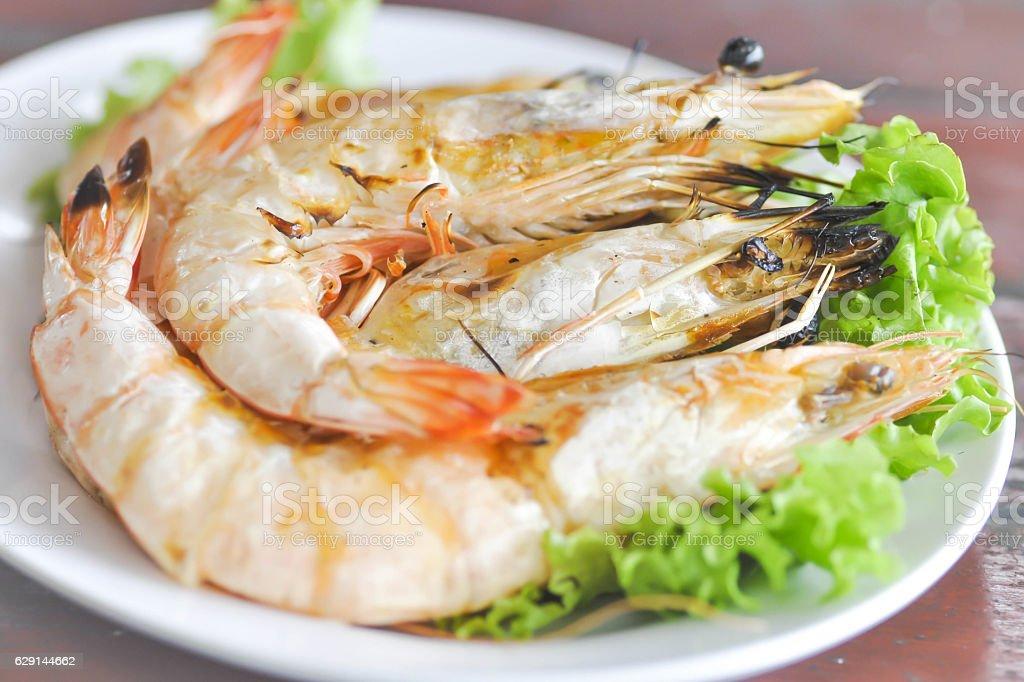 grilled shrimp or shrimp barbecue stock photo