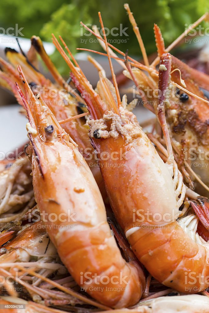 Grilled shrimp. royalty-free stock photo
