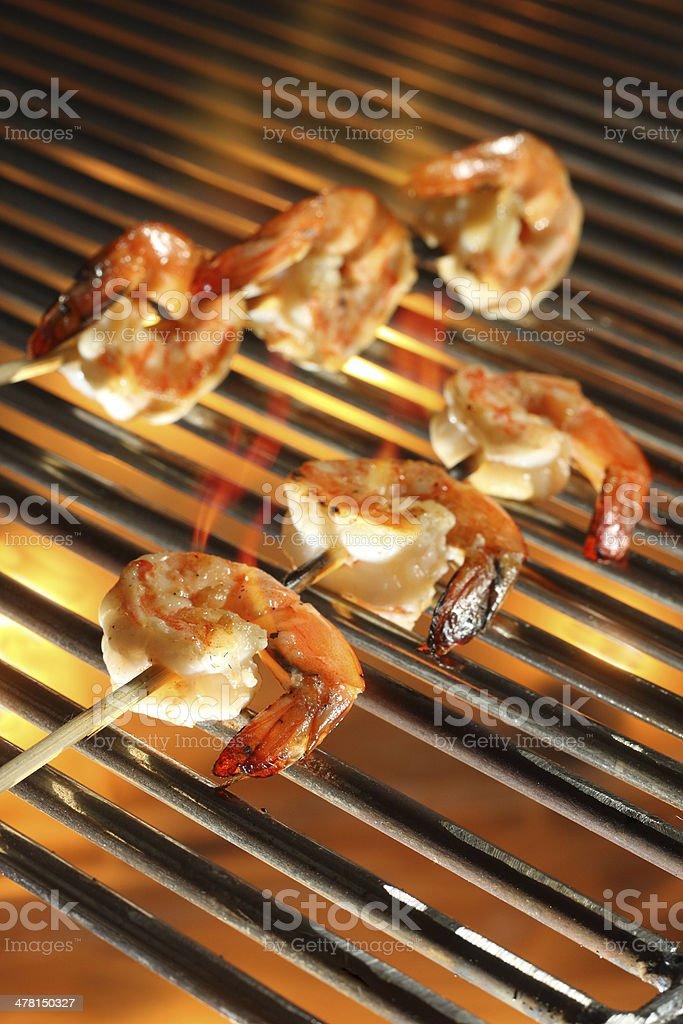Grilled Shrimp Skewers stock photo