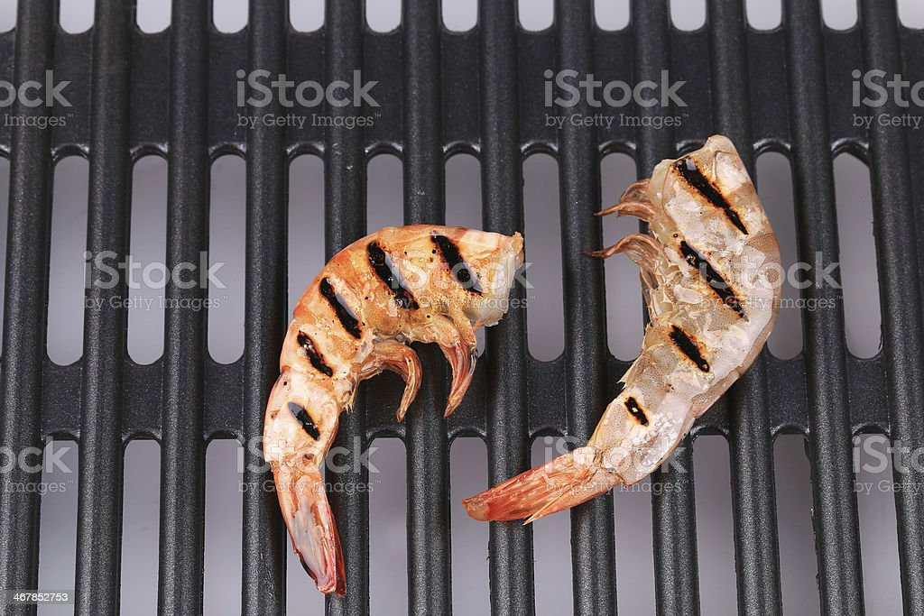 Grilled shrimps on grill. stock photo
