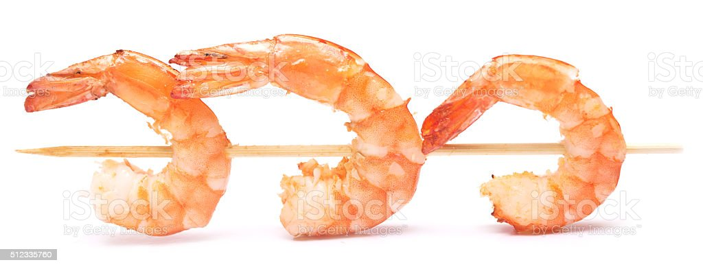 grilled shrimps on stick stock photo
