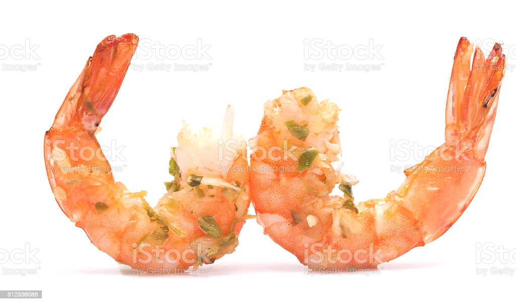 grilled shrimps on white stock photo