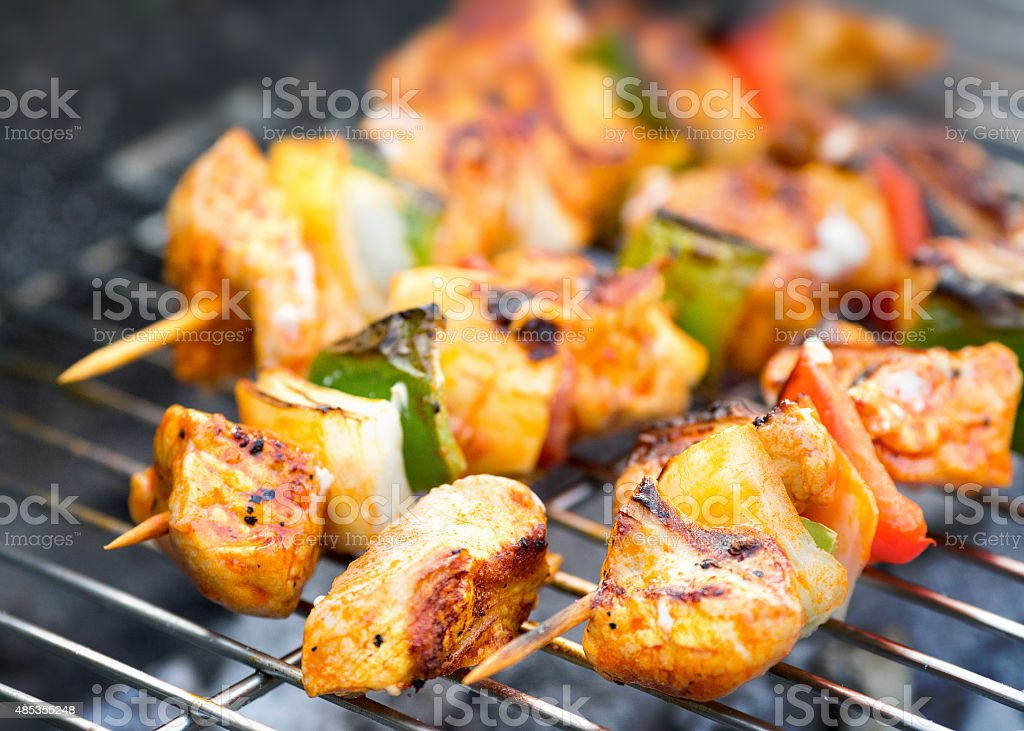 Grilled skewer meat kebabs on the barbecue stock photo