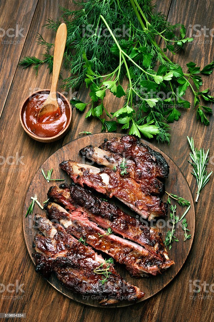 Grilled sliced barbecue pork ribs stock photo