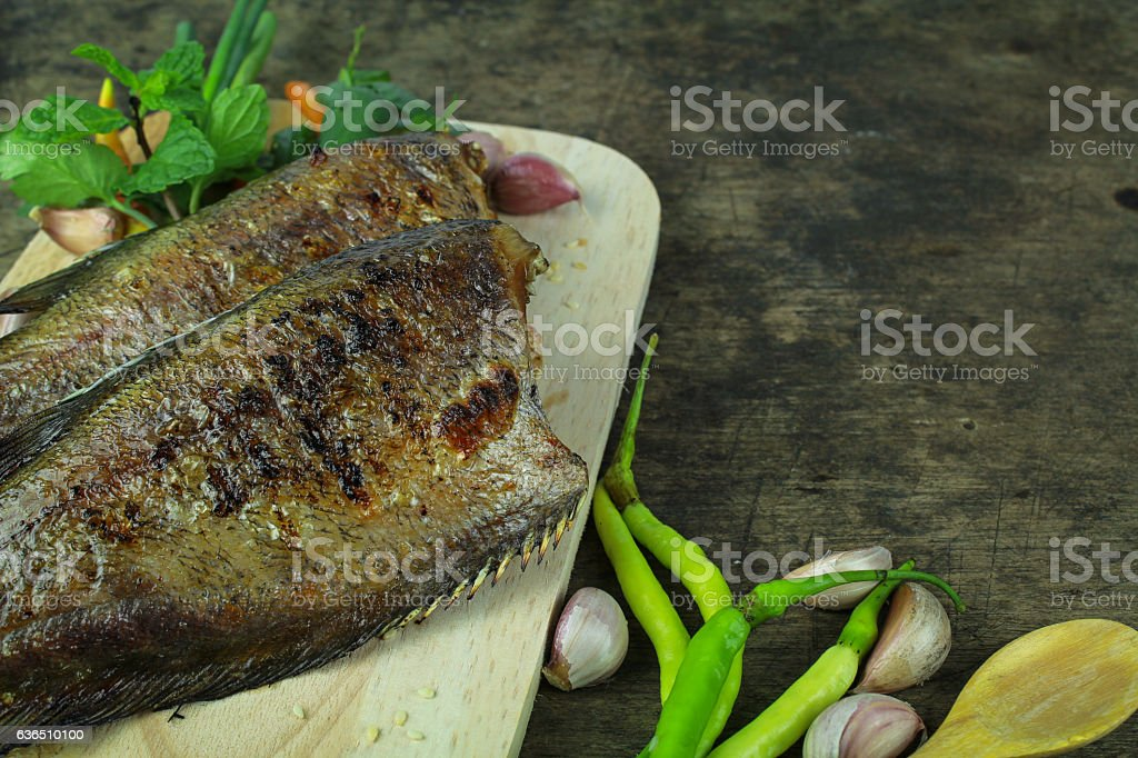 grilled snakeskin fish, Asian food and cuisine stock photo