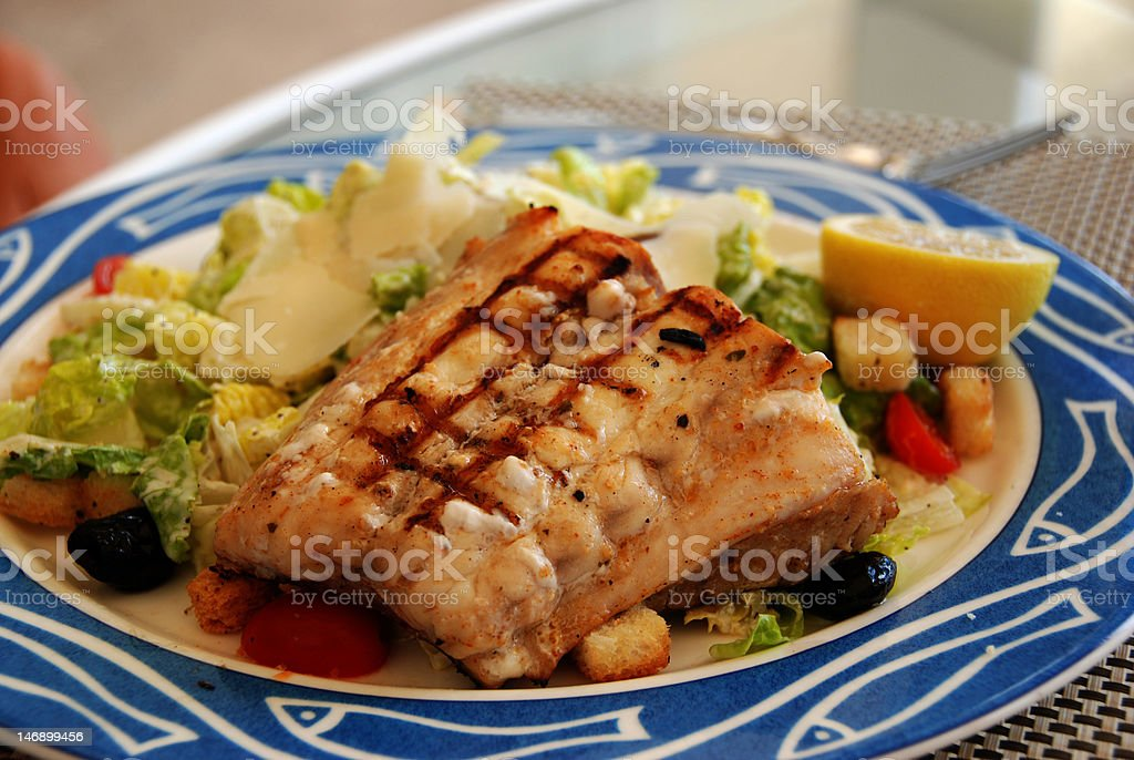 Grilled Snapper on salad stock photo