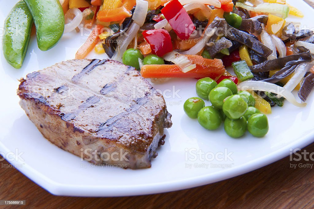 Grilled stake with vegetables royalty-free stock photo