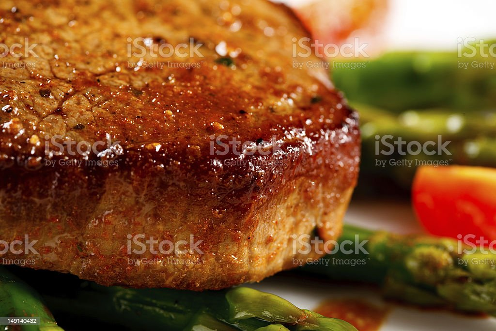 Grilled steak and asparagus royalty-free stock photo