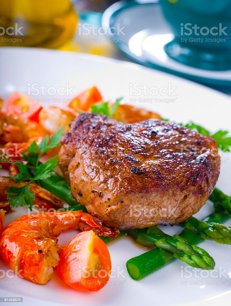 grilled steak and prawn royalty-free stock photo