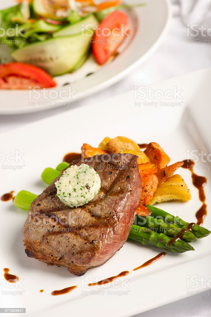 Grilled Steak and Salad stock photo