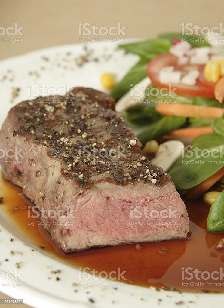 grilled Steak and Salad royalty-free stock photo