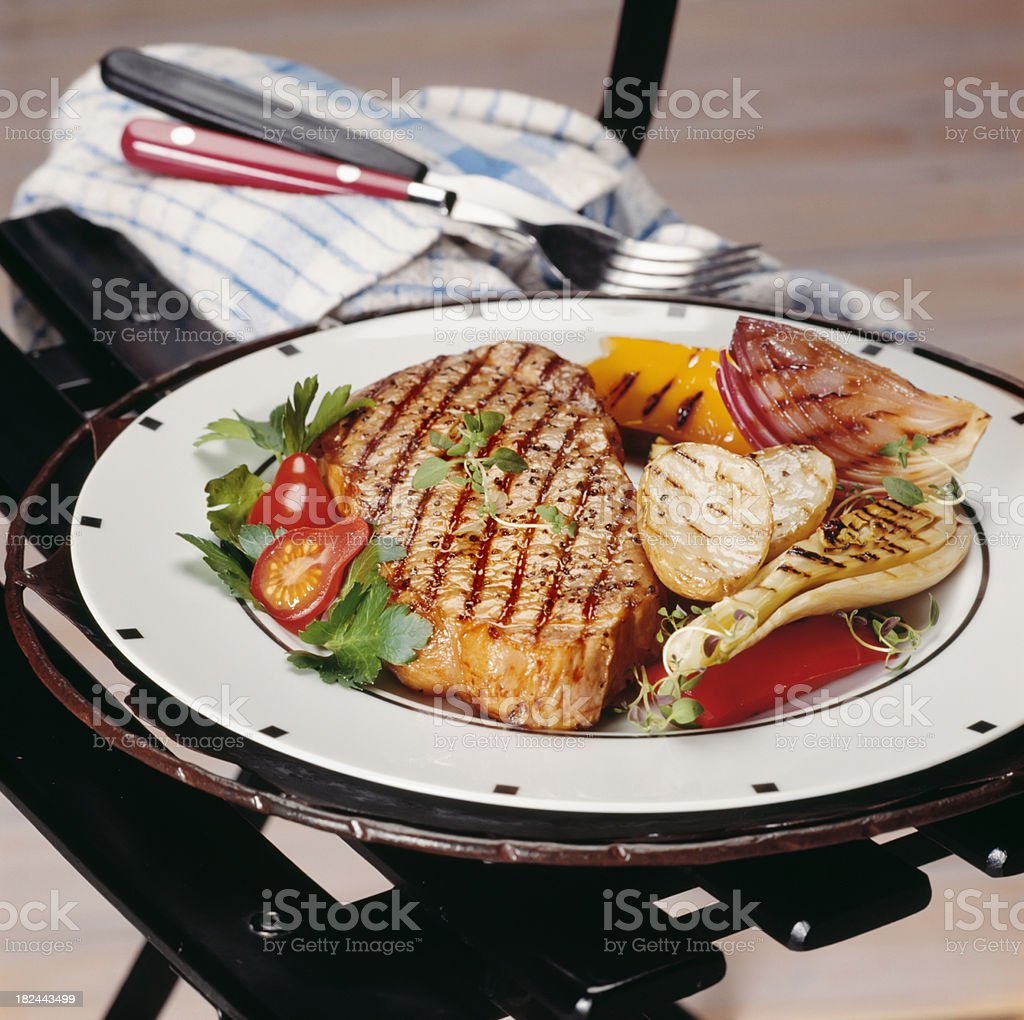 Grilled Steak and vegetables on picnic chair royalty-free stock photo