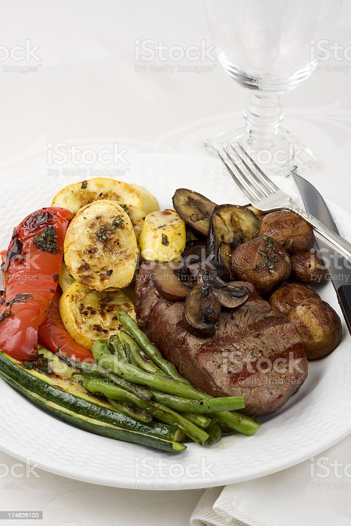 Grilled Steak and Vegetables royalty-free stock photo