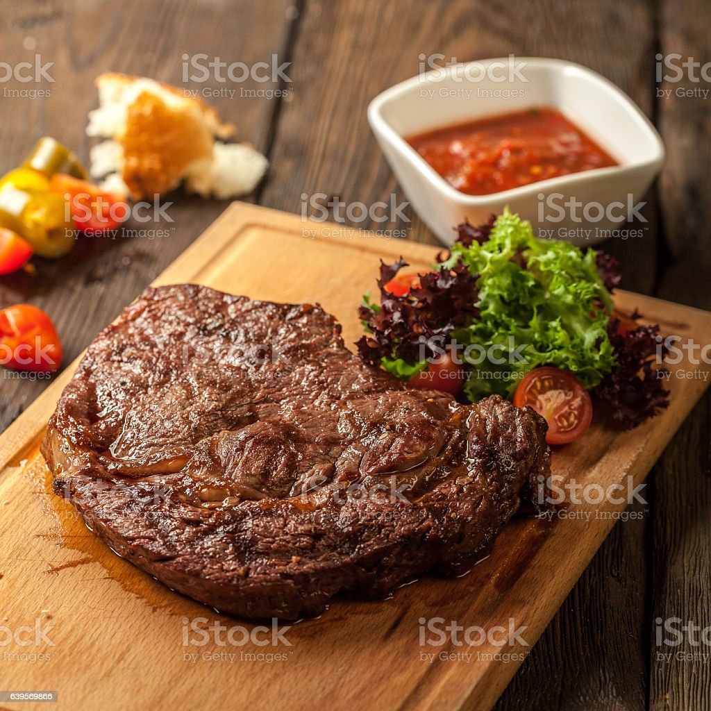 Grilled steak and vegetables stock photo
