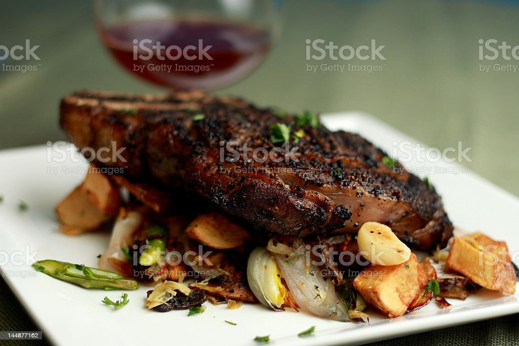 Grilled steak and wine stock photo