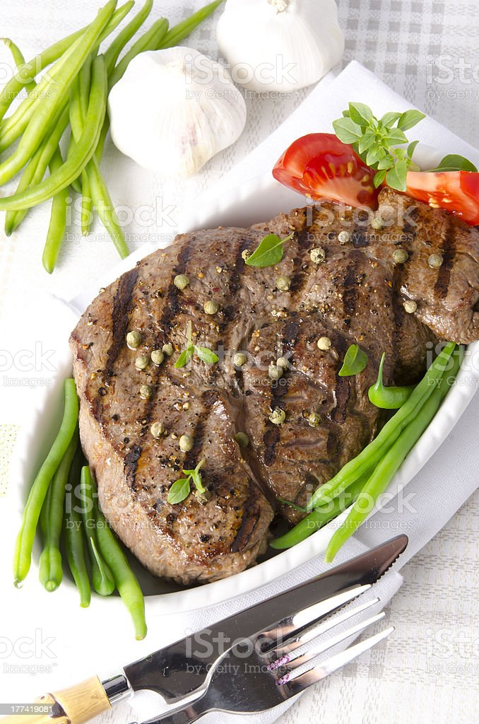 Grilled Steak. Barbecue stock photo