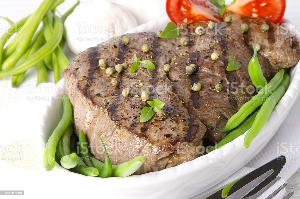Grilled Steak. Barbecue royalty-free stock photo