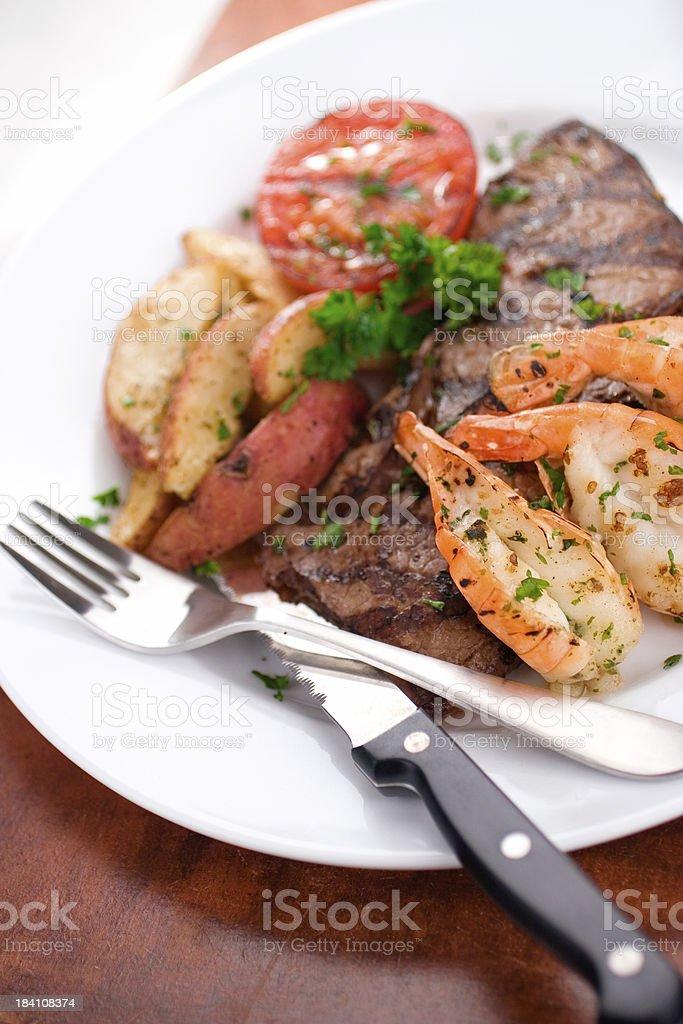 Grilled Steak & Prawns royalty-free stock photo