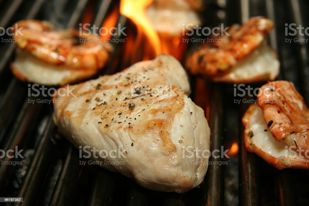 grilled steak Turkey and gambas royalty-free stock photo