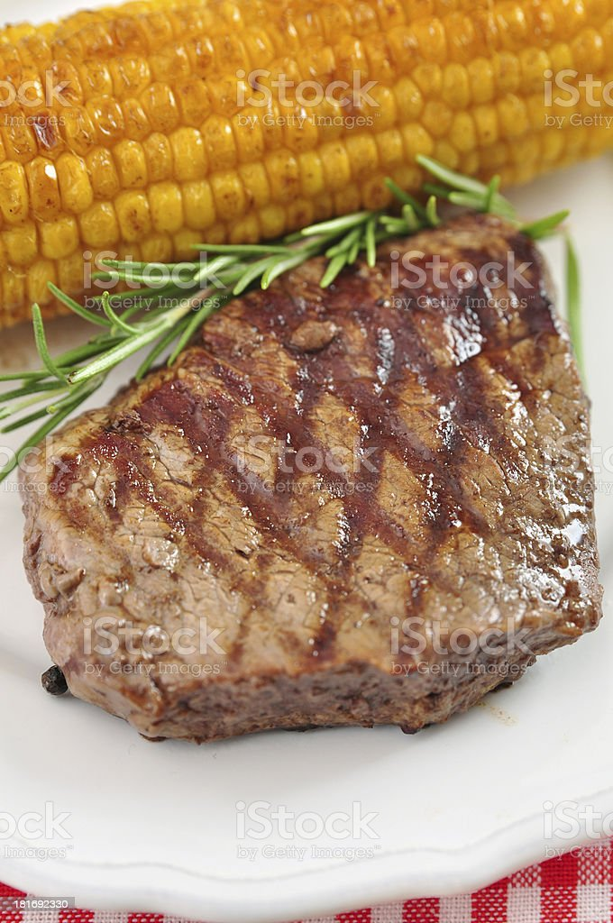Grilled Steak with corn royalty-free stock photo