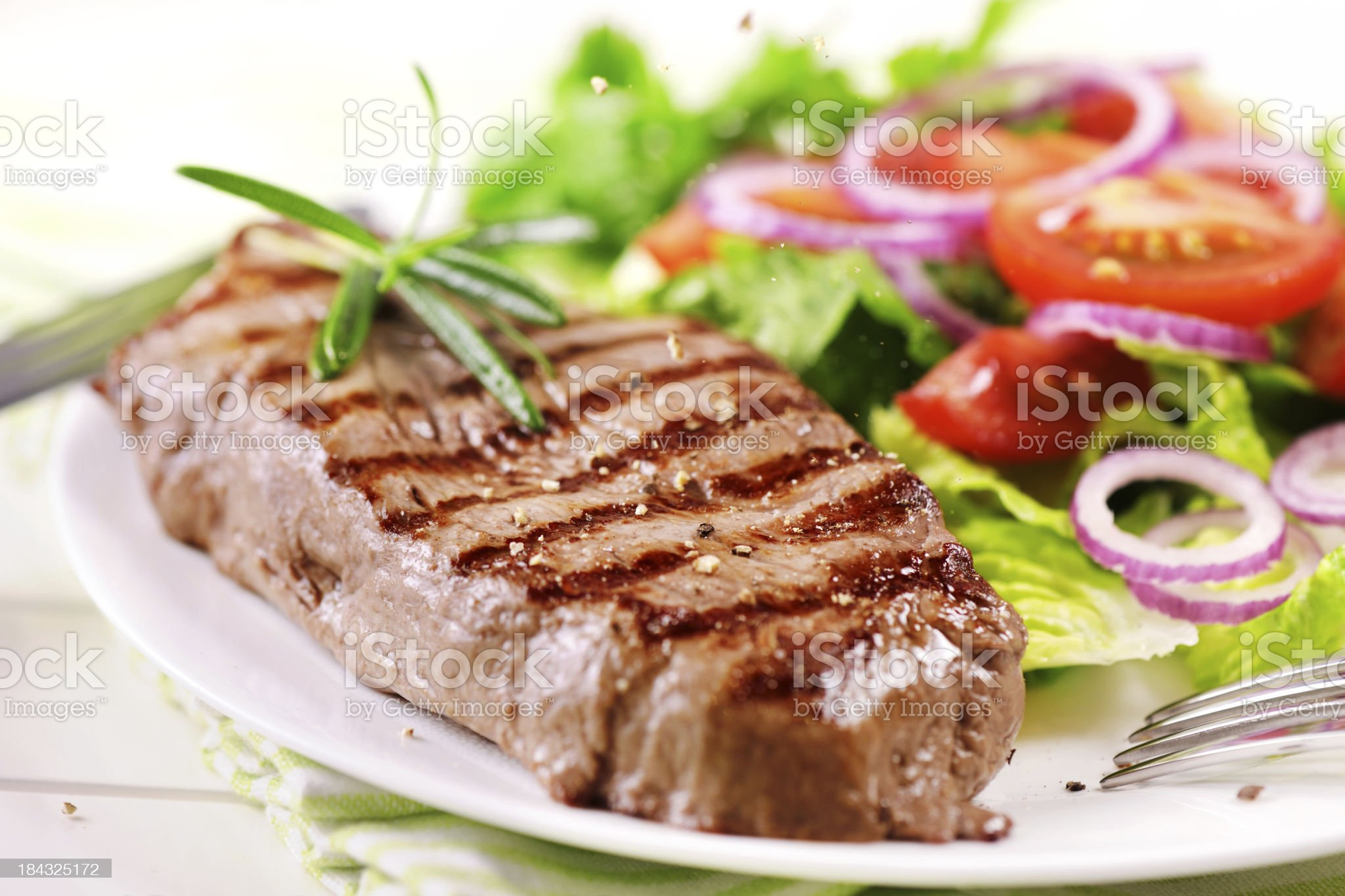 Grilled steak with salad royalty-free stock photo