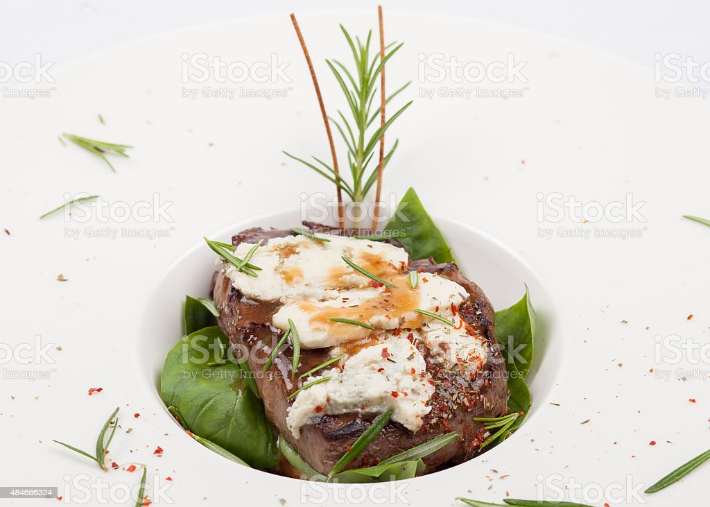 Grilled Steak with spinach stock photo