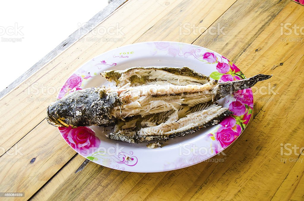 Grilled striped snakehead fish stock photo