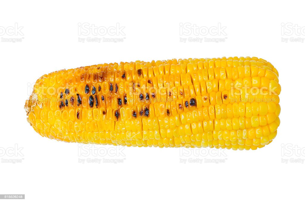 Grilled sweet corn cob isolated on white background. Clipping path stock photo