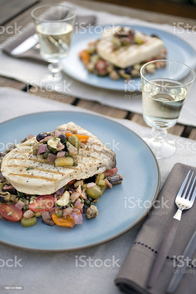 Grilled swordfish stock photo