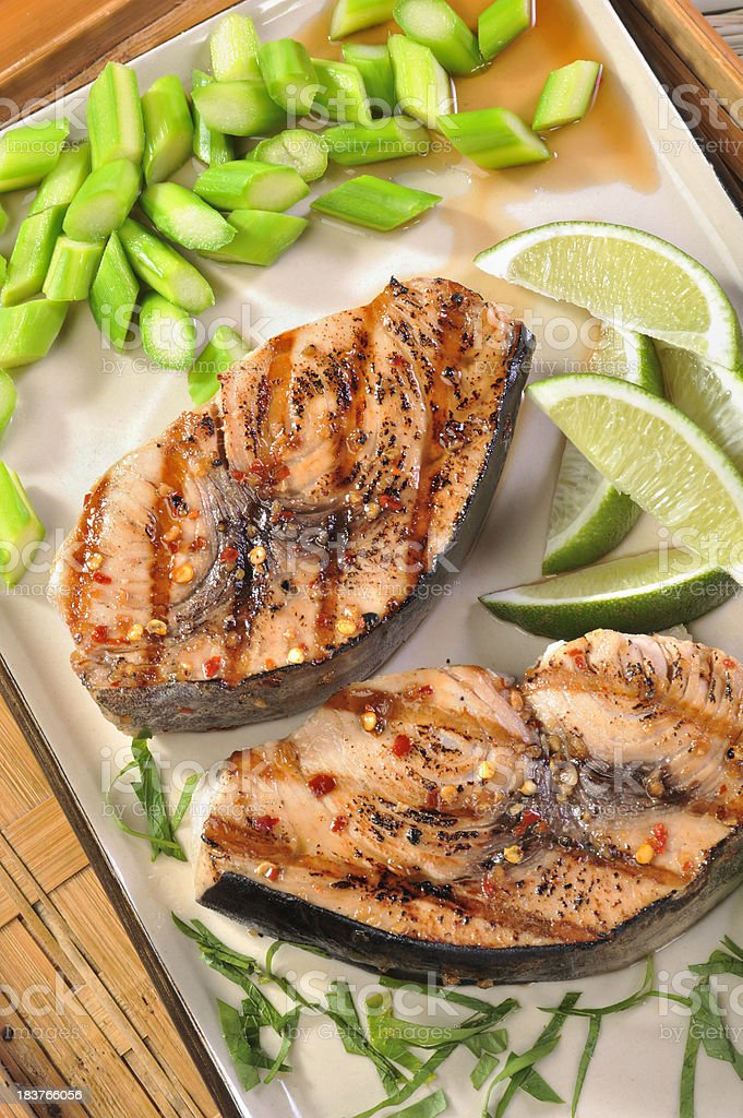 Grilled Swordfish steaks stock photo