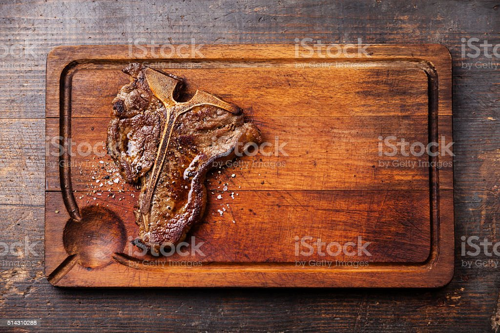 Grilled T-Bone Steak stock photo
