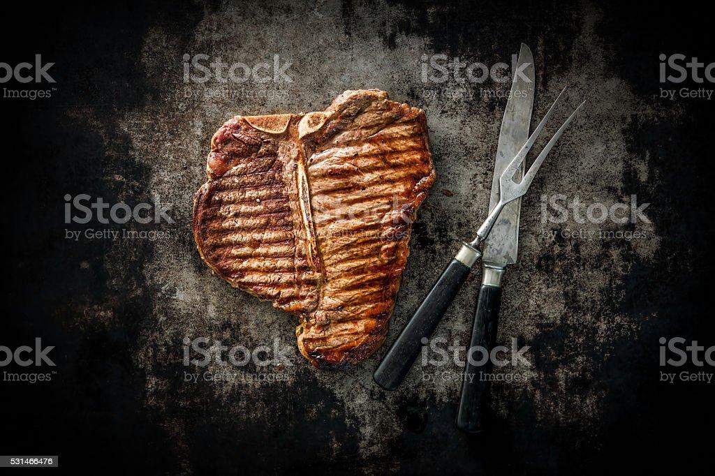 Grilled T-Bone Steak stock photo