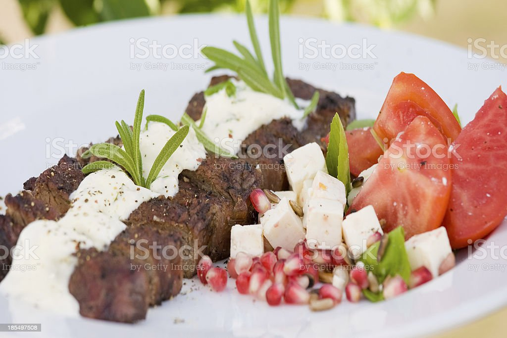 Grilled tenderloin with feta royalty-free stock photo