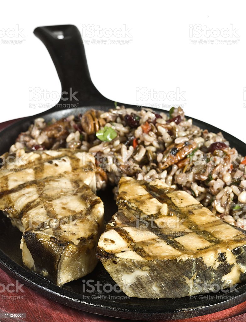 Grilled Teriyaki Sword fish Steaks with Brown Rice royalty-free stock photo