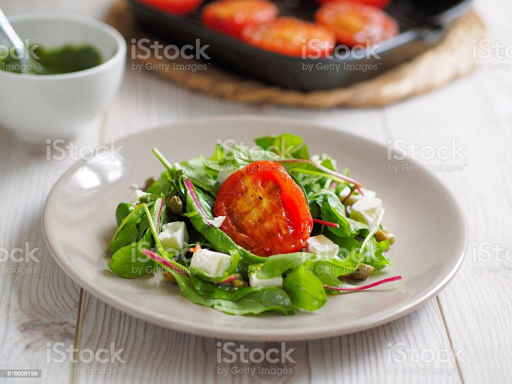 grilled toamto salad stock photo