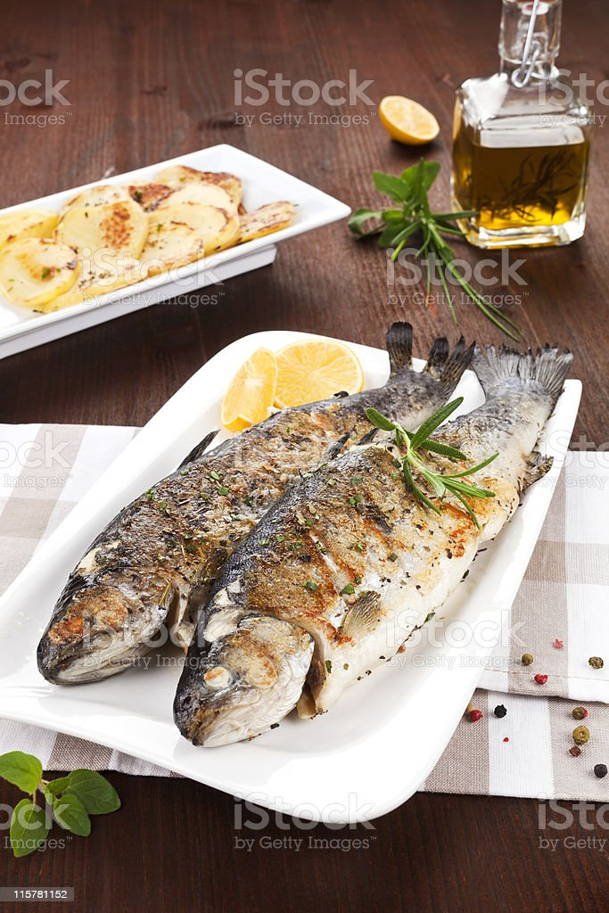 Grilled trouts. Seafood concept. stock photo