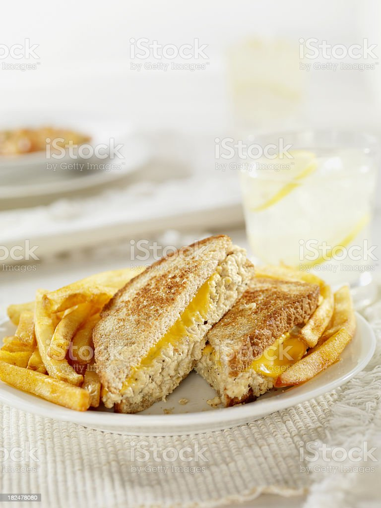 Grilled Tuna and Cheese Sandwich royalty-free stock photo