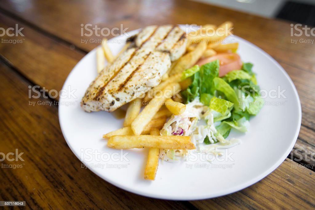 Grilled Tuna or Wahoo Dinner stock photo