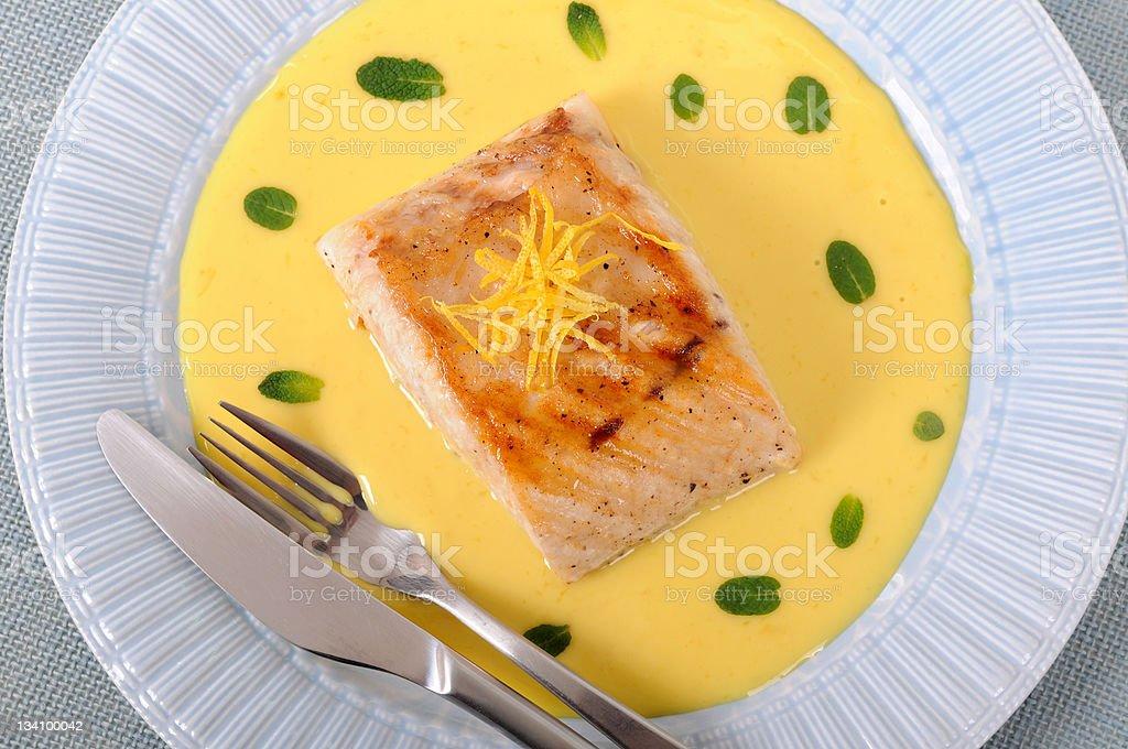 Grilled tuna steak royalty-free stock photo