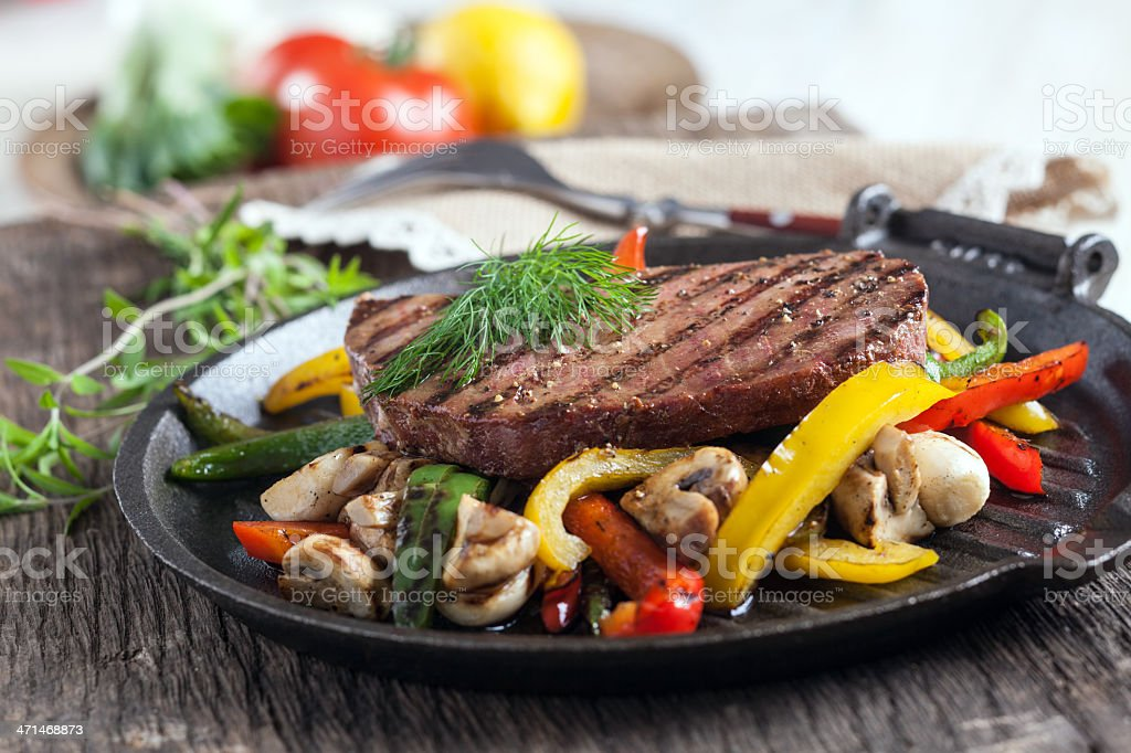 Grilled tuna steak with vegetable royalty-free stock photo
