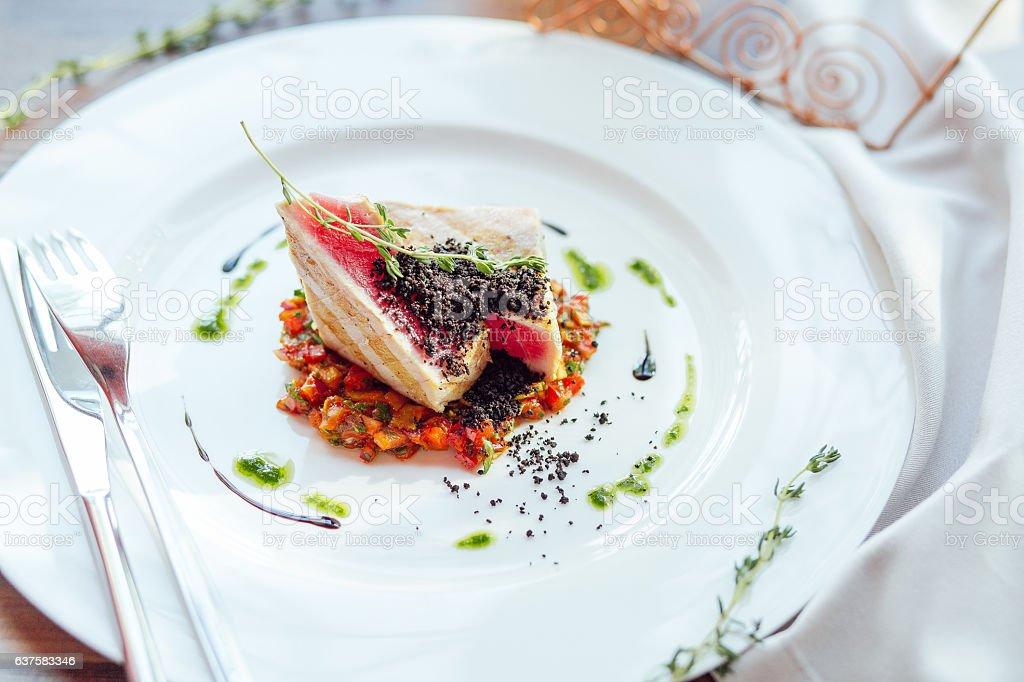 Grilled tuna steak with vegetables stock photo