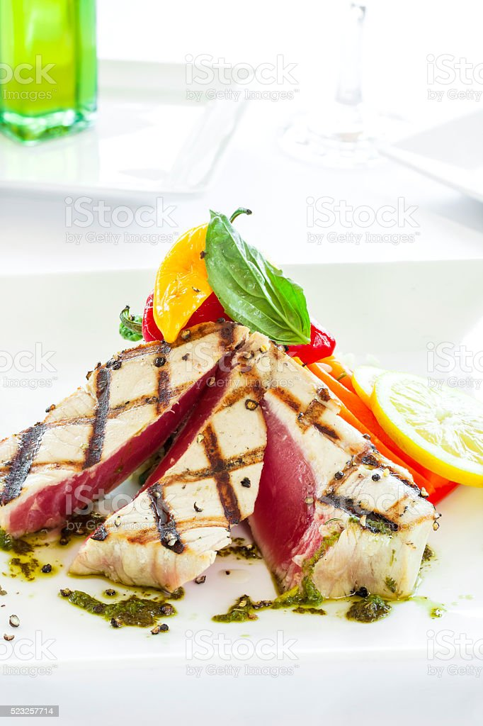 Grilled tuna steaks stock photo