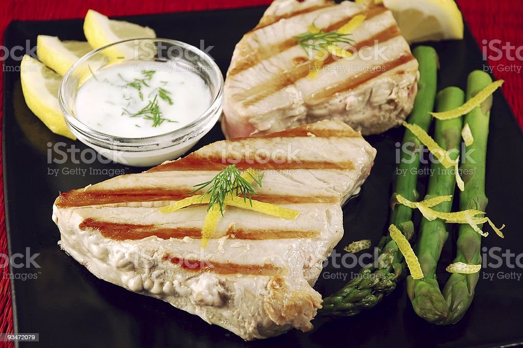 Grilled Tuna Steaks stock photo