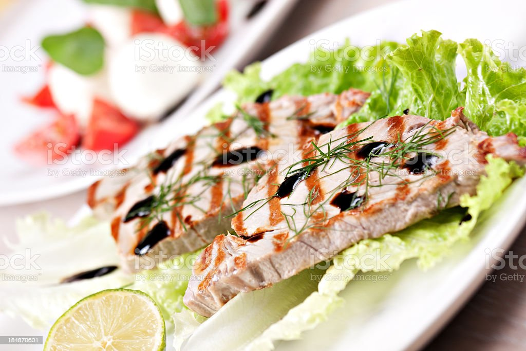 Grilled tuna with salad royalty-free stock photo