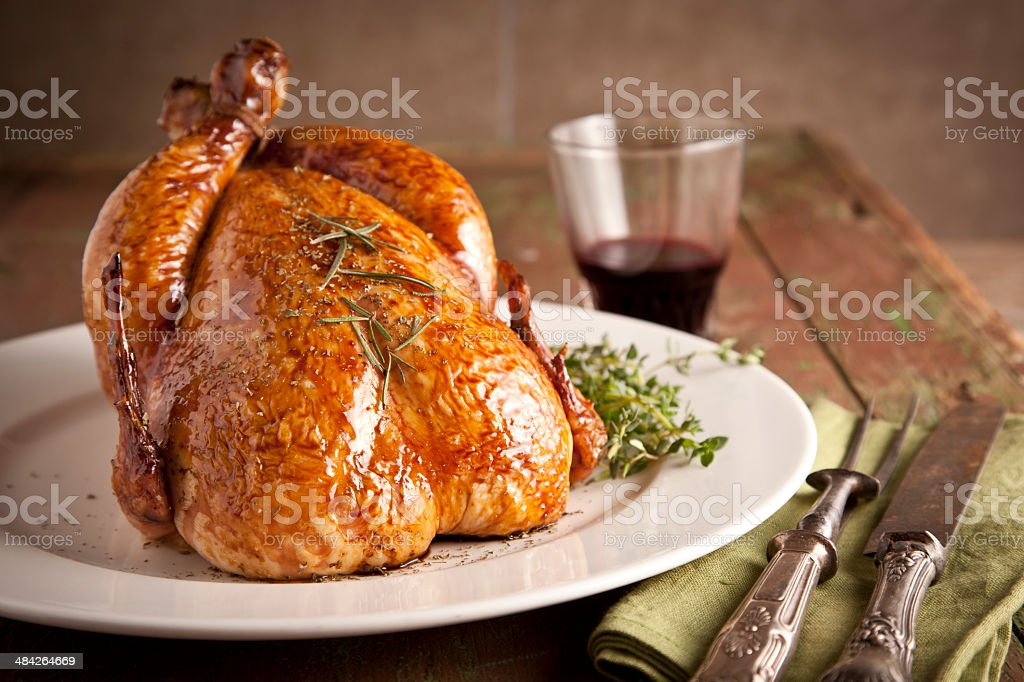 grilled turkey and vegetables for christmas and thanks giving day stock photo