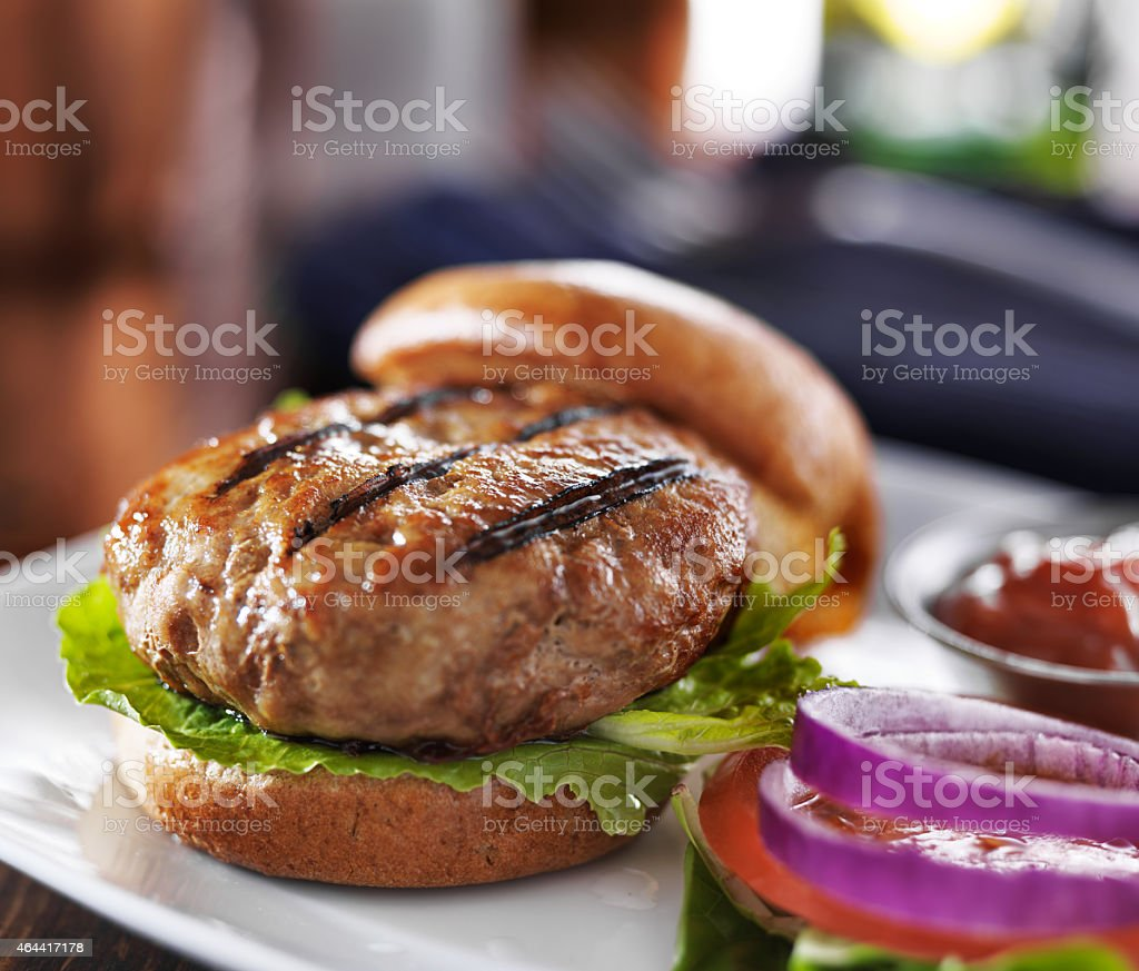 grilled turkey burger stock photo