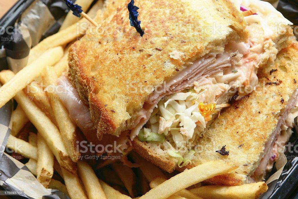Grilled Turkey Cheese Sandwich stock photo