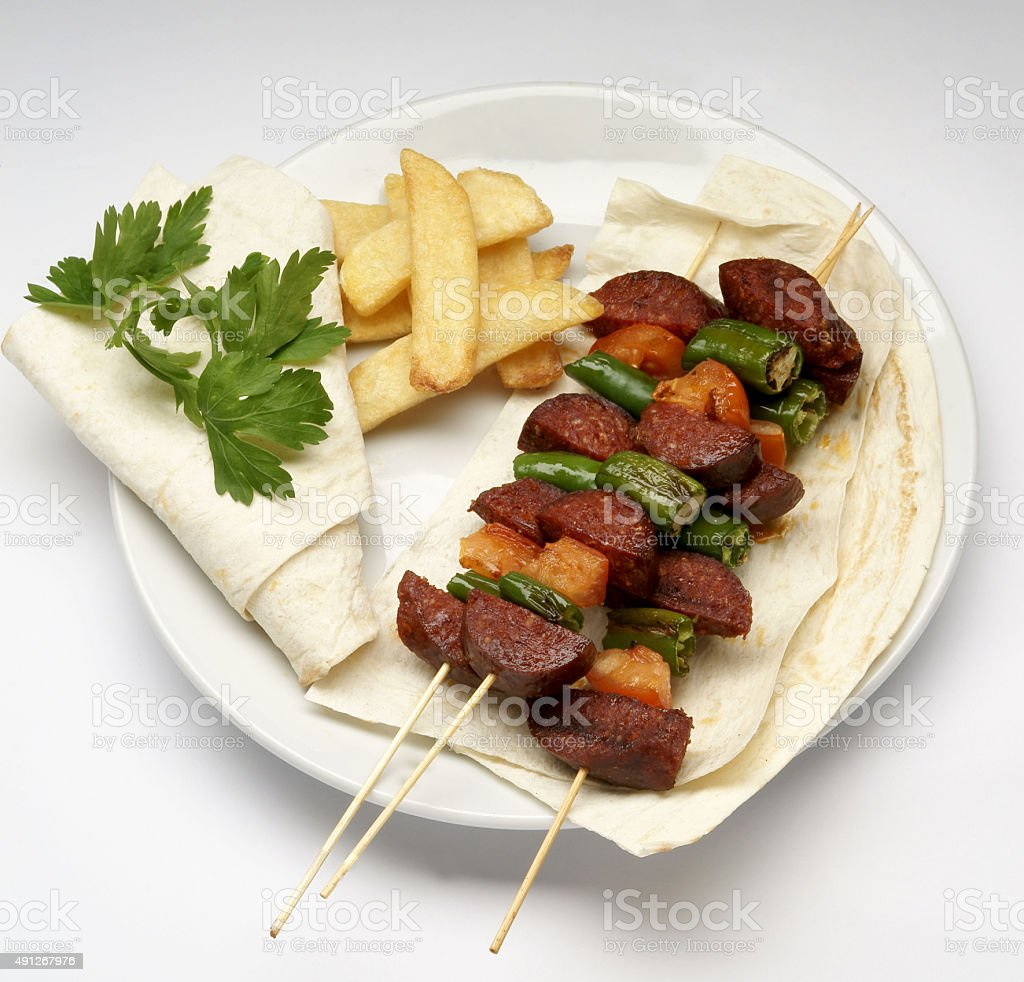Grilled Turkish Sausage (Sucuk with Lavash) stock photo
